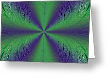 Flight Of Fancy Fractal In Green And Purple Greeting Card