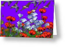 Flight Over Poppies Greeting Card