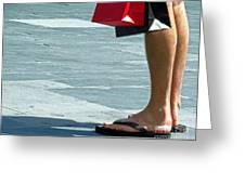 Flip Flops And Shopping Bags Greeting Card