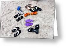 Flip Flops On The Beach Greeting Card