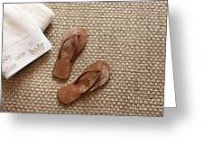 Flip Flops With Towels On Seagrass Rug Greeting Card