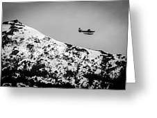 Float Plane Over The Mountain Greeting Card