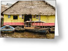 Floating Bar In Shanty Town Greeting Card
