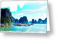 Floating In Ha Long Greeting Card