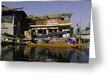 Floating Shop Along With Another Shop On Floats In The Dal Lake Greeting Card