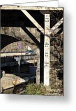 Flood Height Sign At Ellicott City Maryland Greeting Card