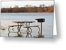 Flooded Park Bench Lunch Greeting Card