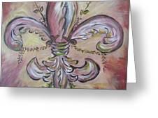 Floral De Lis Greeting Card