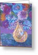 Floral Fantasy Blue Greeting Card