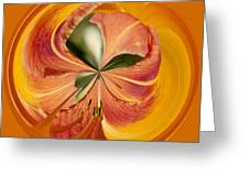 Floral Orange Orb Greeting Card