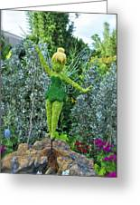 Floral Tinker Bell Greeting Card by Thomas Woolworth