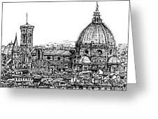 Florence Duomo In Ink  Greeting Card by Adendorff Design
