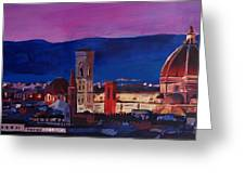 Florence Skyline Italy With Santa Maria Del Fiore Greeting Card