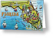 Florida Cartoon Map Greeting Card