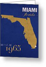 Florida International University Panthers Miami College Town State Map Poster Series No 038 Greeting Card