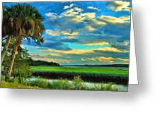 Florida Landscape With Palms Greeting Card