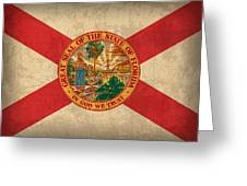 Florida State Flag Art On Worn Canvas Greeting Card
