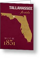 Florida State University Seminoles Tallahassee Florida Town State Map Poster Series No 039 Greeting Card