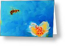 Flower And A Bee Greeting Card