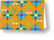 Flower And Dragonfly Design With Orange Background Greeting Card