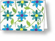 Flower And Dragonfly Design With White Background Greeting Card
