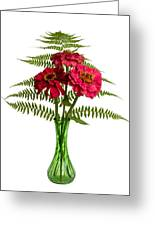Flower Arrangement With Ferns And Zinnias Greeting Card