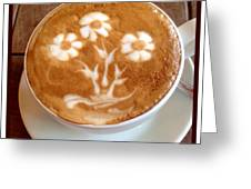 Flower Bouquet Latte Art Greeting Card