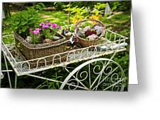 Flower Cart In Garden Greeting Card