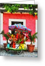 Flower Cart San Juan Puerto Rico Greeting Card