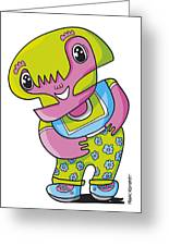 Flower Girl Doodle Character Greeting Card by Frank Ramspott