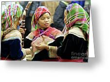 Flower Hmong Women Greeting Card by Rick Piper Photography
