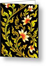 Flower Images Artistic From Thai Painting And Literature Greeting Card