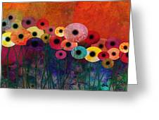 Flower Power Five Abstract Art Greeting Card