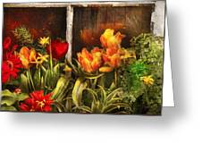 Flower - Tulip - Tulips In A Window Greeting Card by Mike Savad