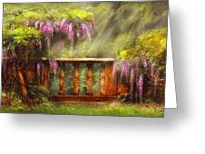 Flower - Wisteria - A Lovers View Greeting Card by Mike Savad