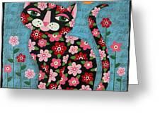 Flowered Calico Black Cat Greeting Card