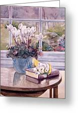Flowers And Book On Table Greeting Card