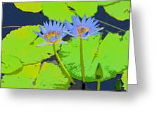 Flowers And Lily Pads Greeting Card