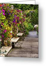 Flowers By A Bench  Greeting Card
