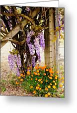 Flowers By The Gate Greeting Card