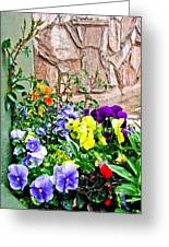 Flowers By The Wall Greeting Card