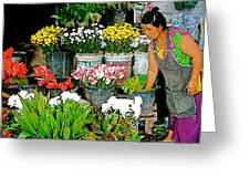 Flowers For Sale In Marketplace In Tachilek-burma Greeting Card