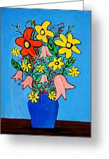Flowers In A Blue Vase Greeting Card