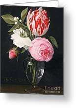 Flowers In A Glass Vase Greeting Card by Daniel Seghers