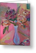 Flowers In A Lavender Vase Greeting Card