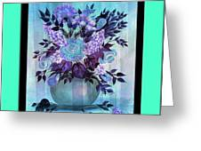 Flowers In A Vase With Blue Border Greeting Card