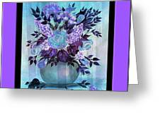 Flowers In A Vase With Lilac Border Greeting Card