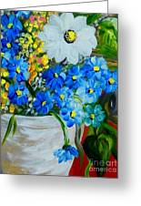 Flowers In A White Vase Greeting Card