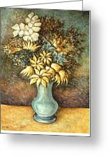 Flowers In Blue Vase - Still Life Oil Greeting Card