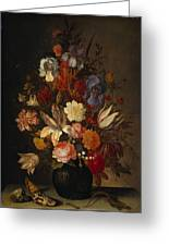 Flowers In Glass Vase With Shells C1625 Greeting Card